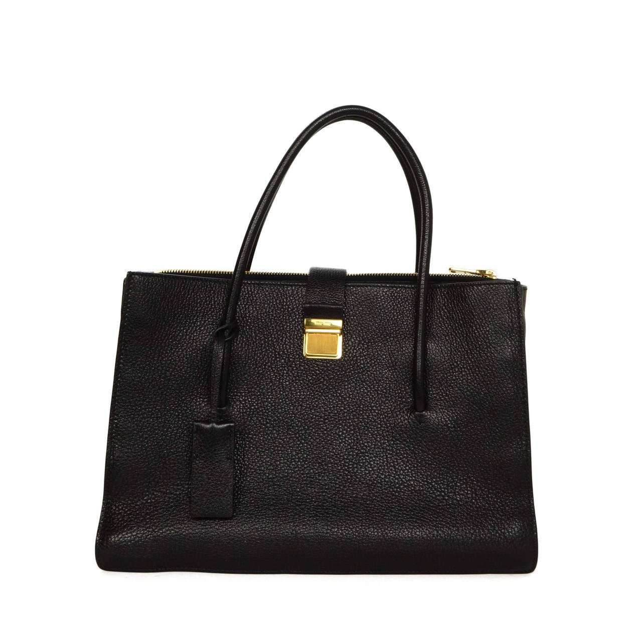 miu miu black leather madras tote bag ghw at 1stdibs. Black Bedroom Furniture Sets. Home Design Ideas