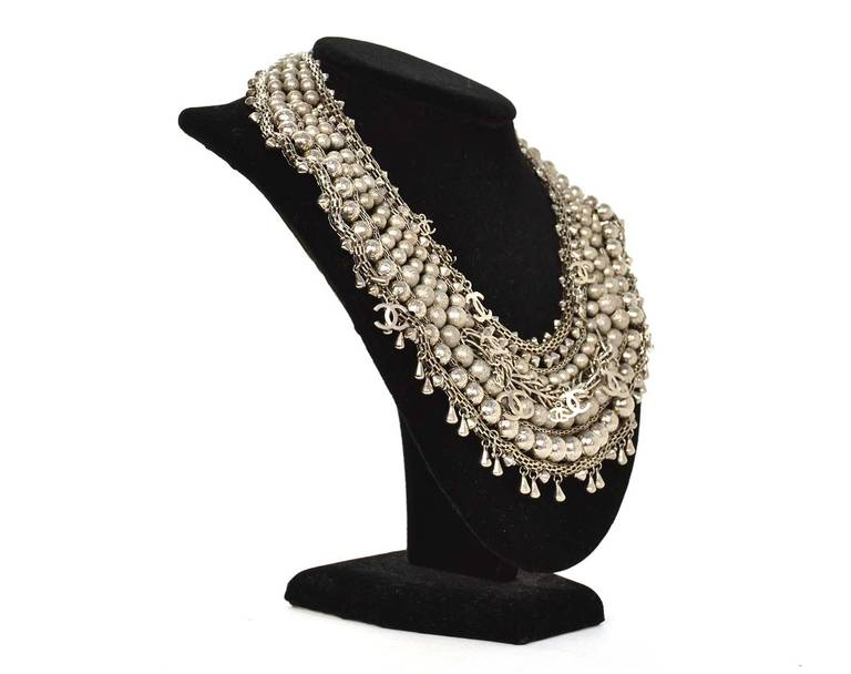 Chanel 2012 Paris Bombay Silvertone Beaded CC Necklace rt. $8,500 3