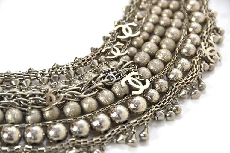 Chanel Paris-Bombay Silver Beaded Bib Necklace 4