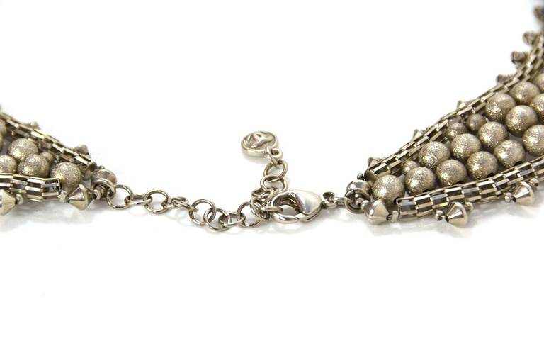 Chanel Paris-Bombay Silver Beaded Bib Necklace 5