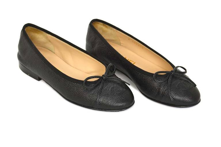 chanel 2014 black caviar leather ballet flat shoes sz 34