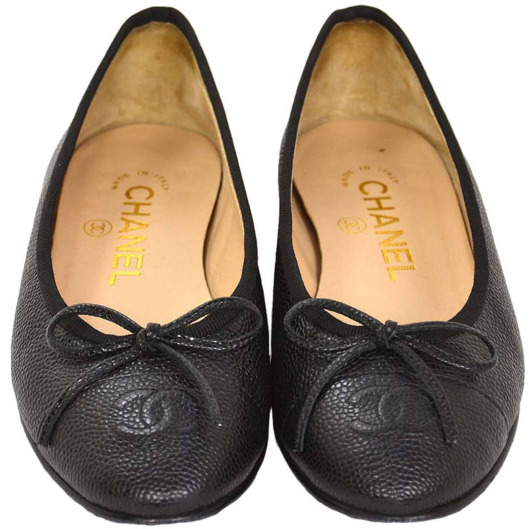 8ab05e4ef85c Chanel 2014 Black Caviar Leather Ballet Flat Shoes sz 34 at 1stdibs