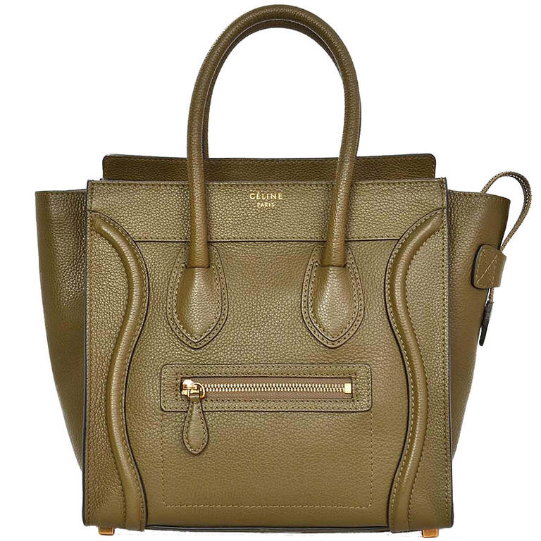 8c5ef7174f Celine 2014 Olive Green Leather Micro Luggage Tote at 1stdibs