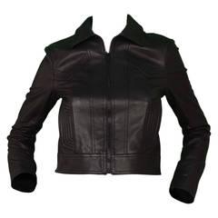 Yves Saint Laurent Black Leather Cropped Moto Jacket sz 38