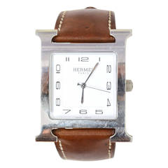 Hermes Stainless Steel & Brown Barenia H. Heure TGM Watch