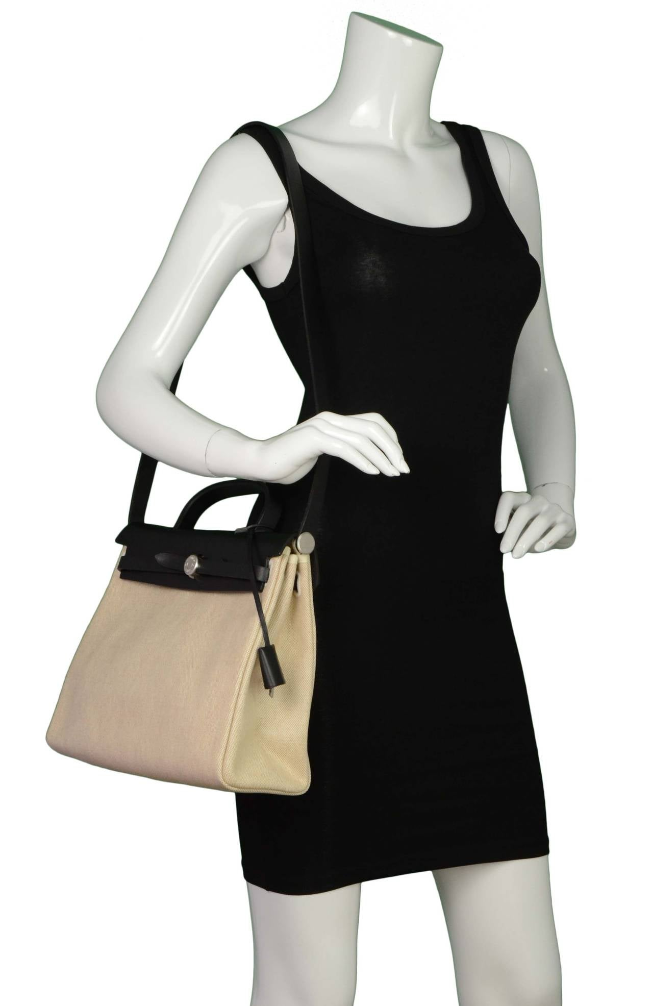 Hermes Black and Beige Canvas \u0026quot;Her\u0026quot; Bag PHW at 1stdibs