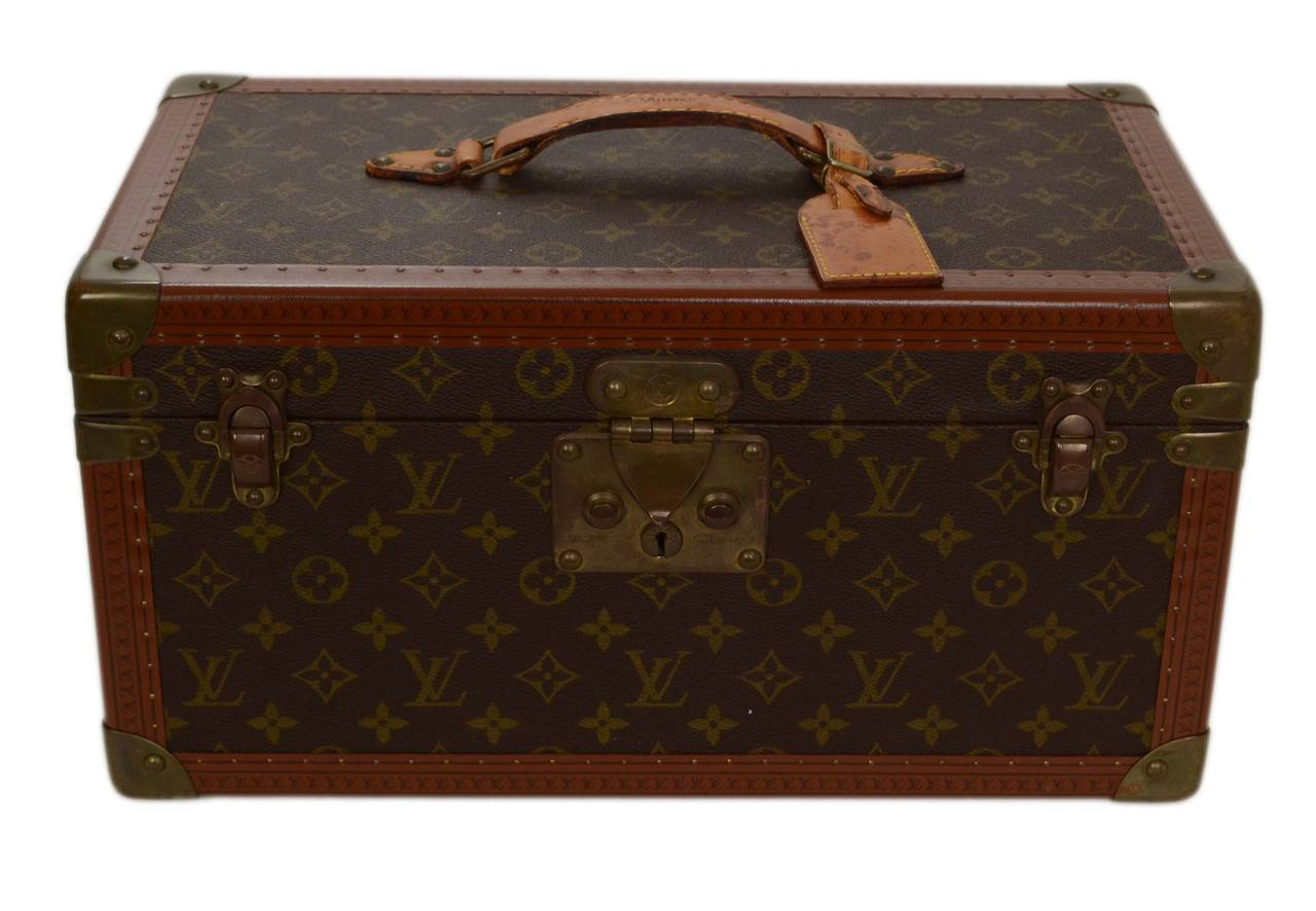 eb776c43c0ae Louis Vuitton Vintage Monogram Beauty Case Made In  France Color  Tan and  brown Hardware