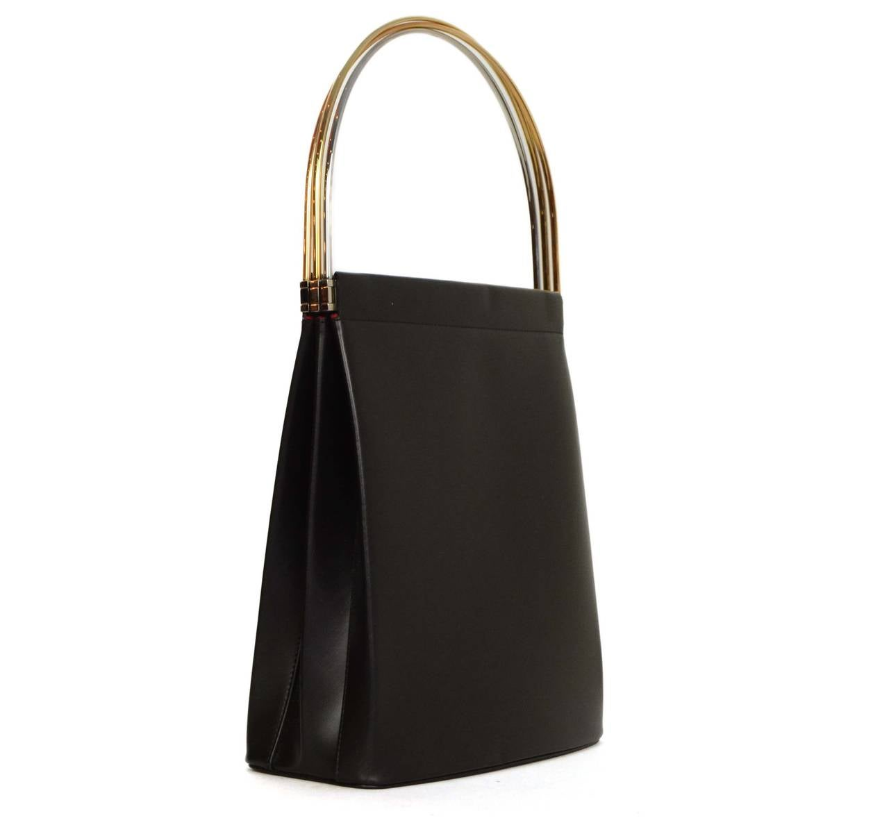 cartier black leather trinity handle bag at 1stdibs