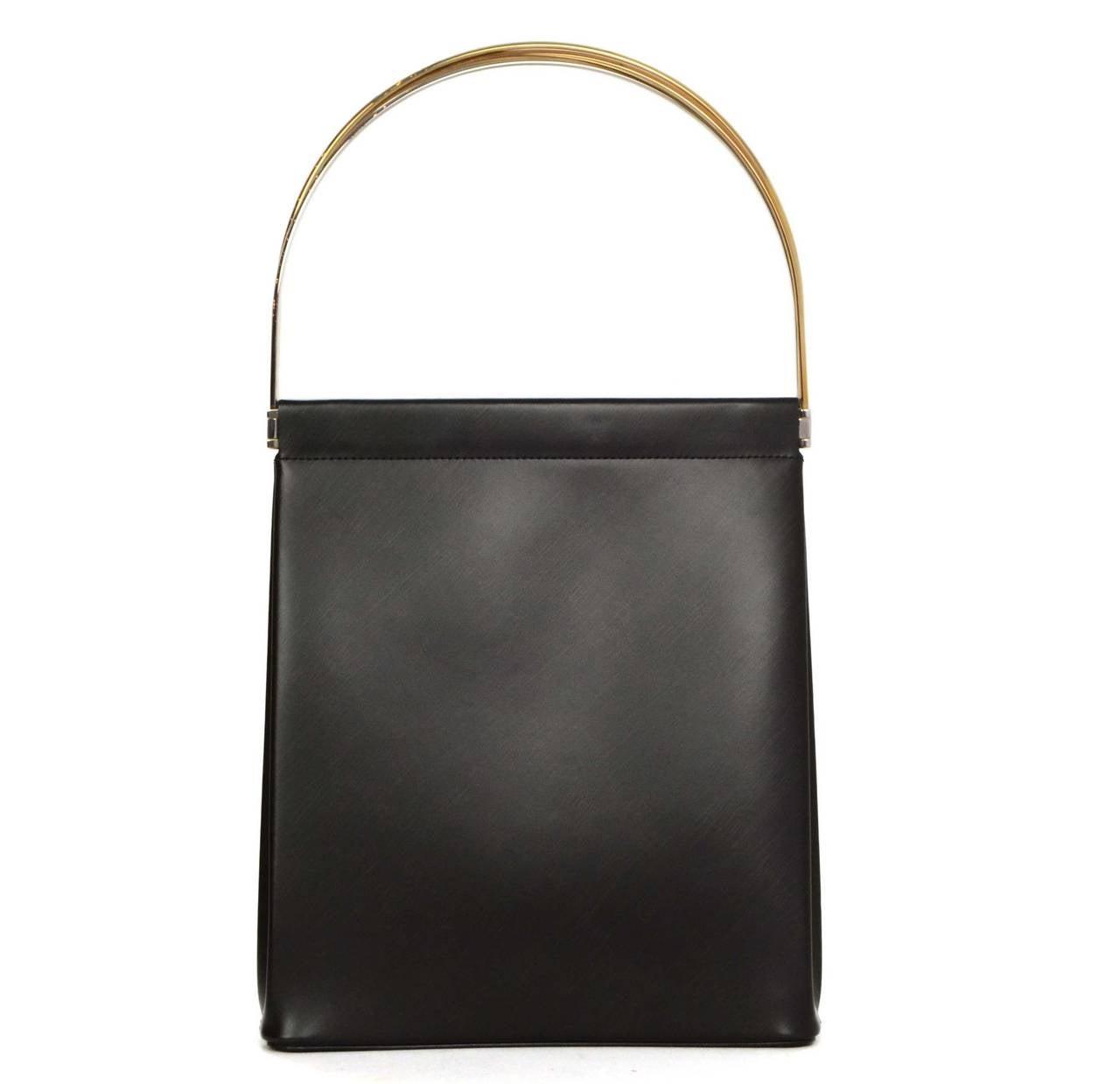 cartier black leather handle bag at 1stdibs