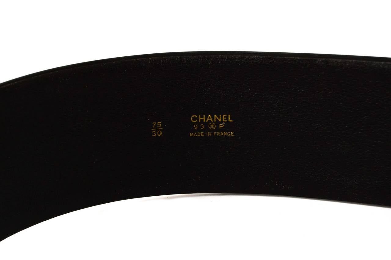 Chanel Vintage '93 Black Patent Wide Belt sz 75 For Sale 1