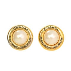 Chanel Vintage '50s Pearl & Gold Disc Clip On Earrings