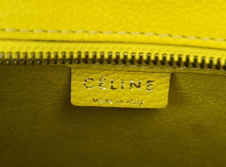 Celine 2012 Citron Yellow Drummed Leather Nano Bag W/strap at 1stdibs