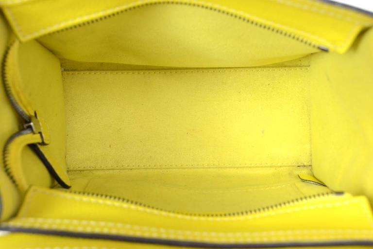 celine tasche online - Celine 2012 Citron Yellow Drummed Leather Nano Bag W/strap at 1stdibs