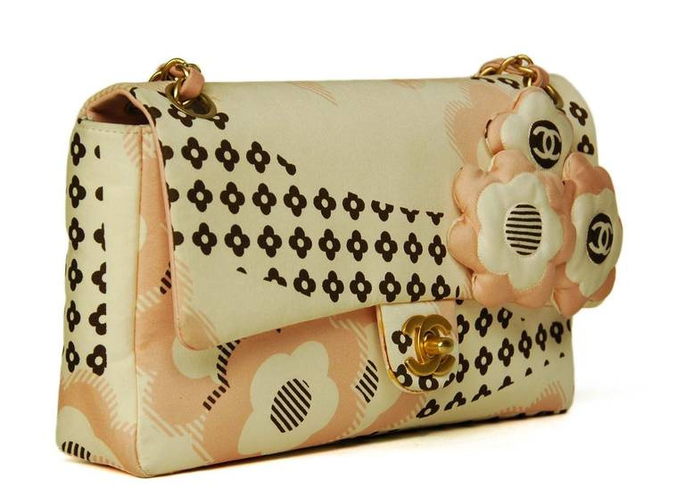 Chanel Cream, Pink & Brown Floral Flap Bag W. Puffy Flowers C. 06 2