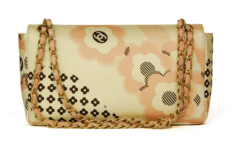 Chanel Cream, Pink & Brown Floral Flap Bag W. Puffy Flowers C. 06 3
