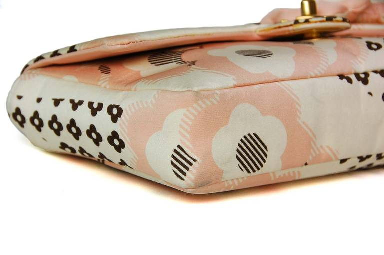 Chanel Cream, Pink & Brown Floral Flap Bag W. Puffy Flowers C. 06 4