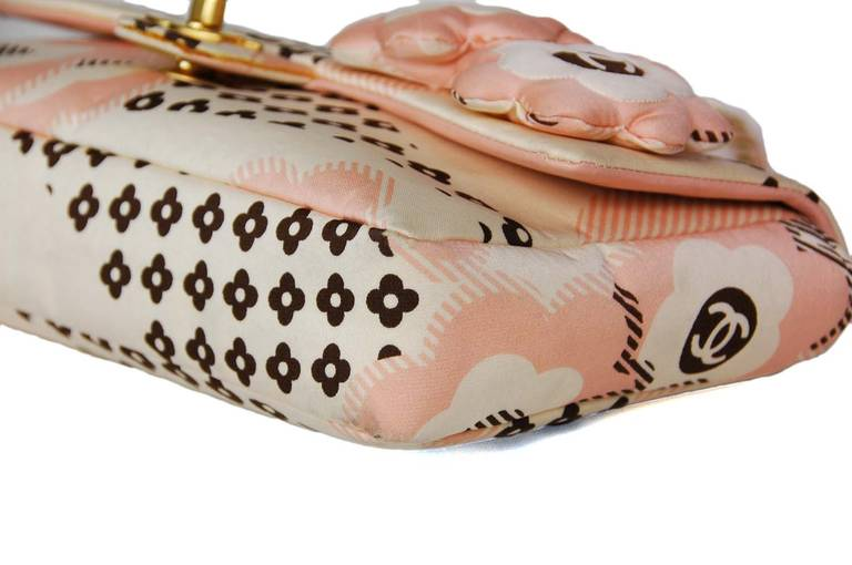Chanel Cream, Pink & Brown Floral Flap Bag W. Puffy Flowers C. 06 5