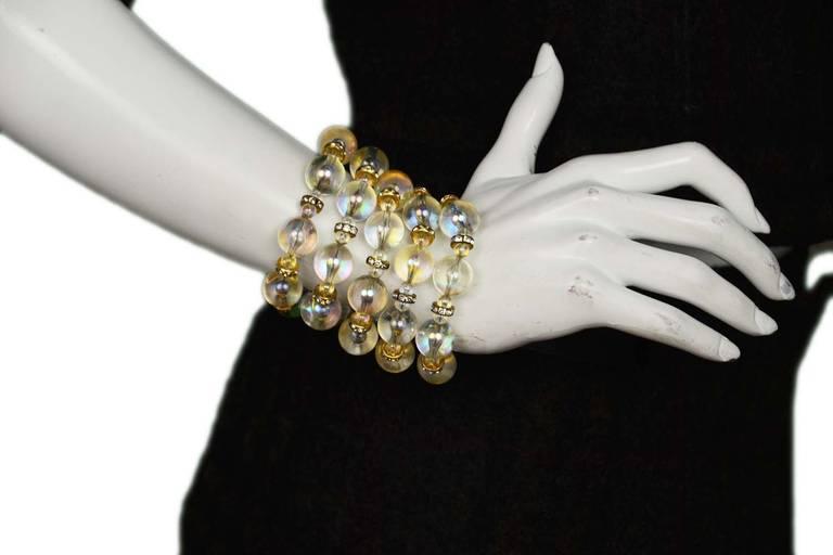 Chanel Vintage '88 Multi-Strand Bead & Crystal Bracelet For Sale 1