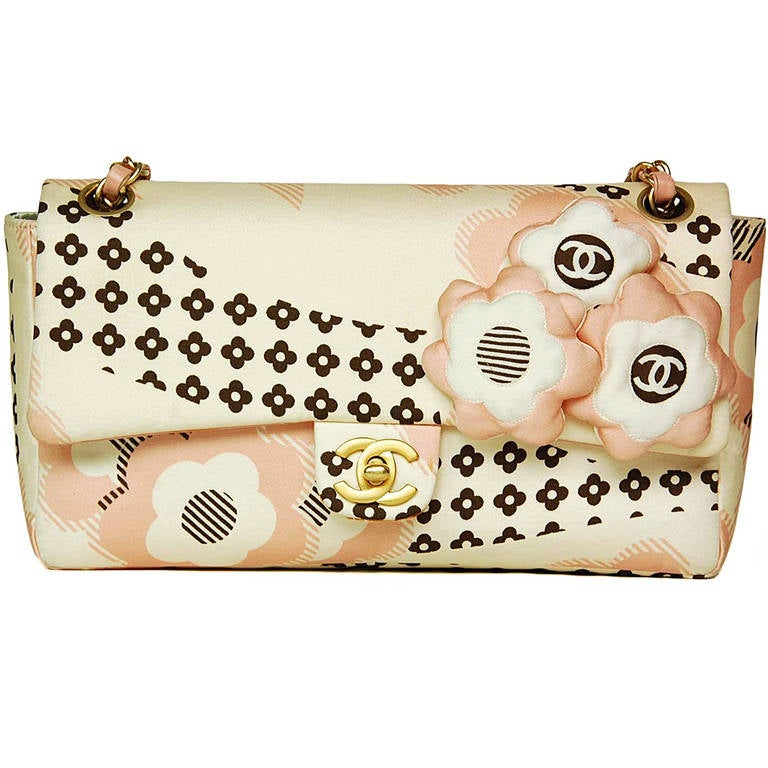 Chanel Cream, Pink & Brown Floral Flap Bag W. Puffy Flowers C. 06 1