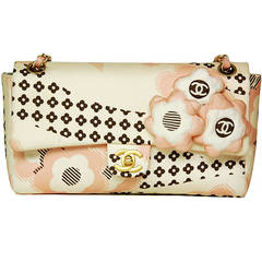 Chanel Cream, Pink & Brown Floral Flap Bag W. Puffy Flowers C. 06