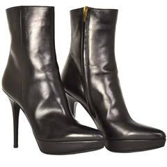 YSL Yves Saint Laurent Black Leather Short Platform Heel Boots sz 39