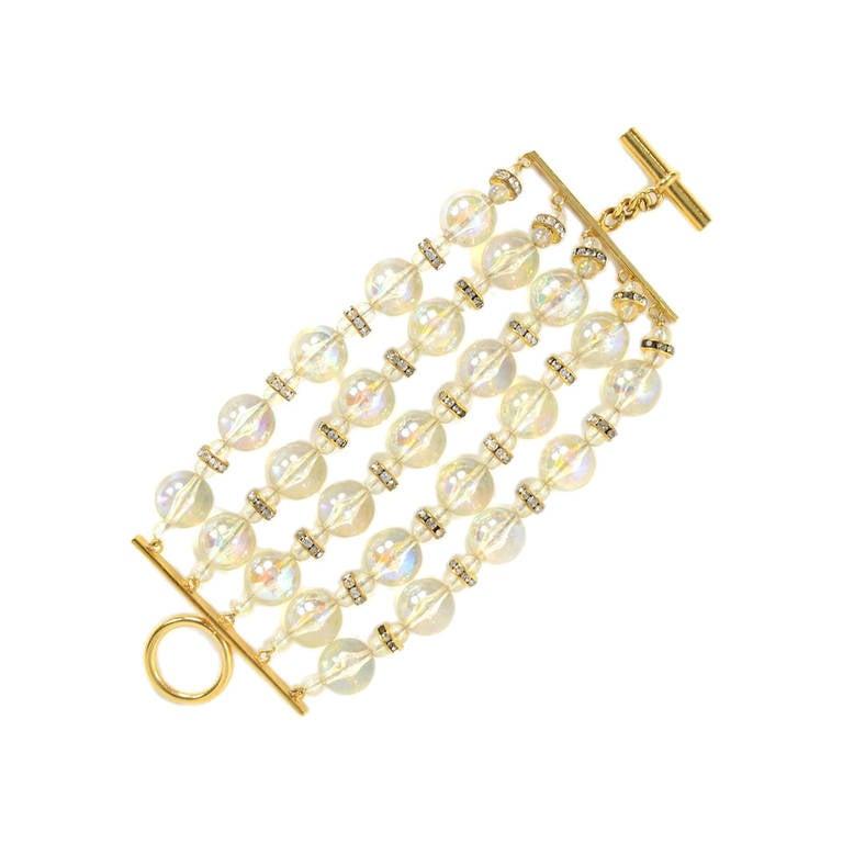 Chanel Vintage '88 Multi-Strand Bead & Crystal Bracelet For Sale