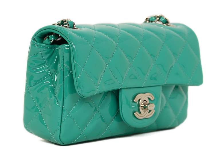 Chanel Seafoam Green Quilted Patent Leather Extra Mini