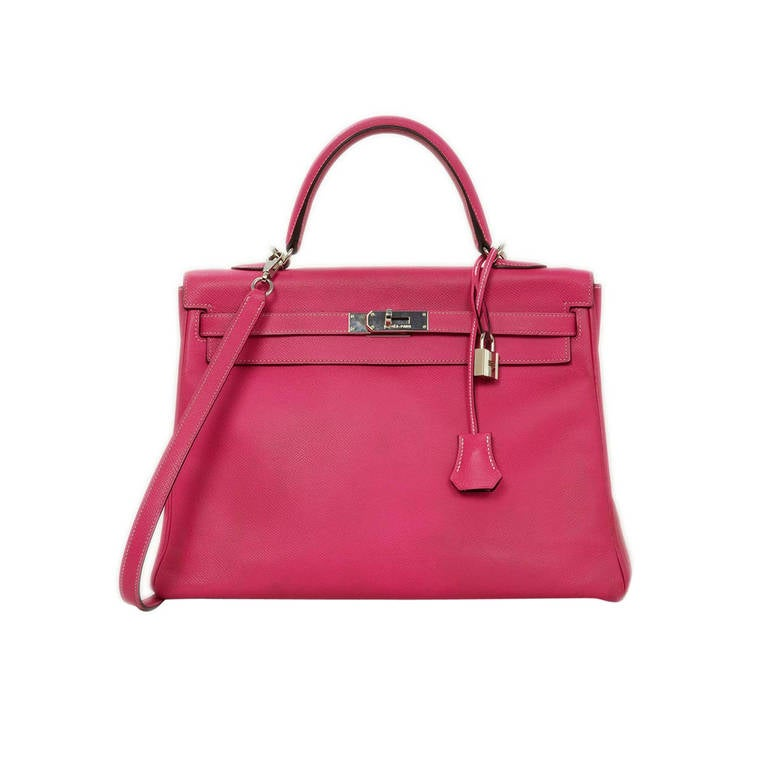 Hermes 2011 35cm Epsom Leather Pink Rose Tyrien Candy Bi-Color Kelly Bag  For Sale deffcdba7e5be