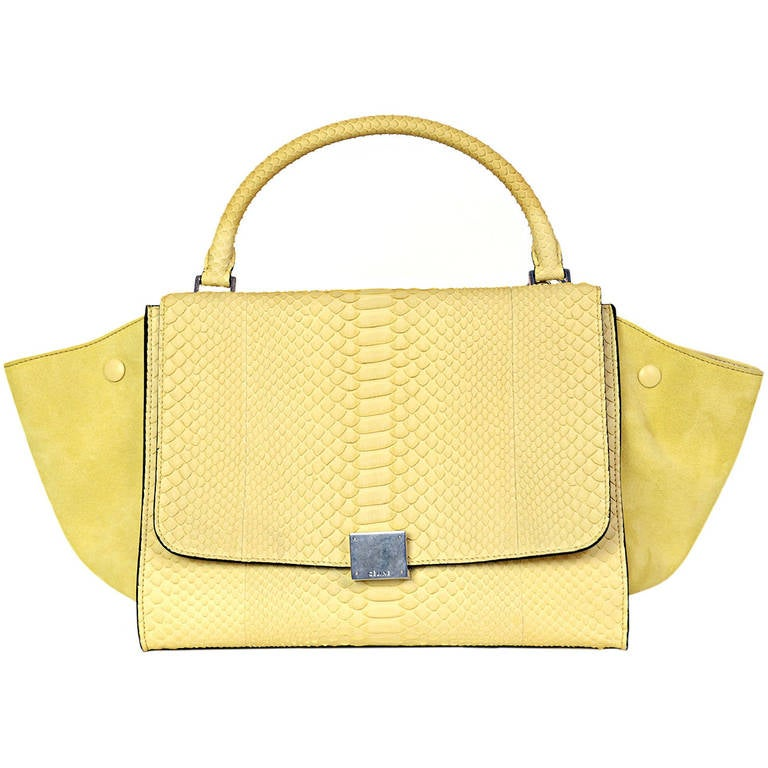 8899c680f8 CELINE Butter Yellow Suede Python Trapeze Bag w Shoulder Strap For Sale