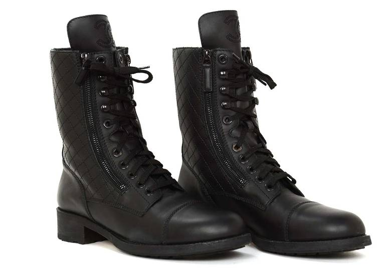Chanel Black Leather Combat Boots W Stitched Cc And Quilted Trim