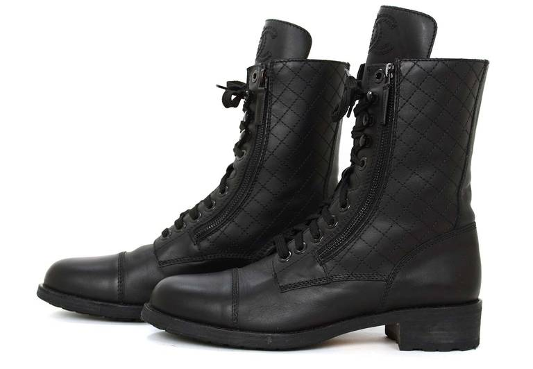 Chanel Black Leather Combat Boots w. Stitched CC & Quilted Trim sz41 rt.$1425 3