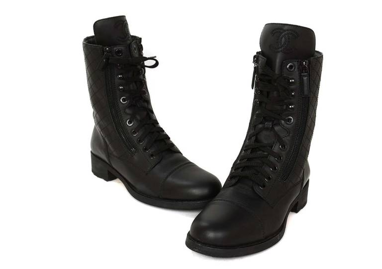 Chanel Black Leather Combat Boots w. Stitched CC & Quilted Trim sz41 rt.$1425 4