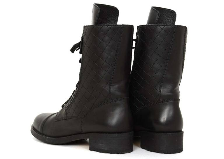 Chanel Black Leather Combat Boots w. Stitched CC & Quilted Trim sz41 rt.$1425 5