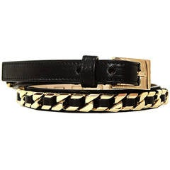 GIVENCHY Black Thin Leather Belt w Goldtone Chain Detail sz.75 rt.$850