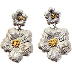 BUCCELLATI Sterling Gardenia Blossom Dangle Earrings w 18K Gold Accents