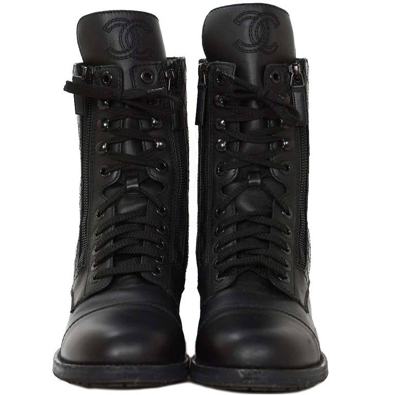 Chanel Black Leather Combat Boots w. Stitched CC & Quilted Trim sz41 rt.$1425 1