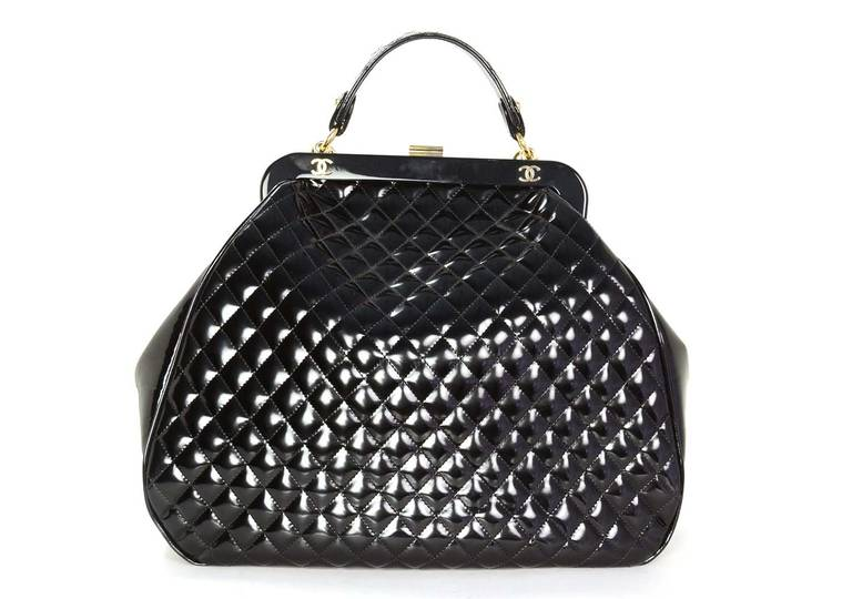 Chanel 2008 Black Quilted Polished Calf Leather