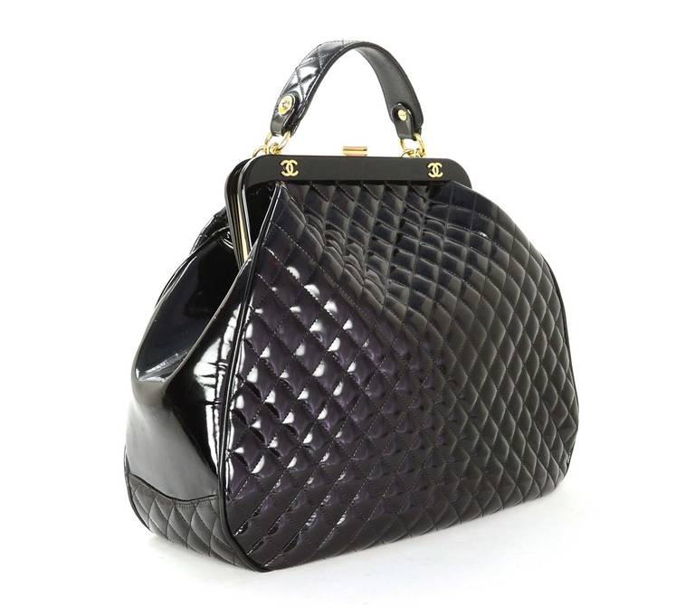 7ca9342ef1bd Chanel 2008 Black Quilted Polished Calf Leather Mademoiselle Frame Bag In  Excellent Condition For Sale In