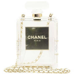 Chanel NIB 2014 Runway Clear Plexiglass No. 5 Perfume Bottle Clutch Bag
