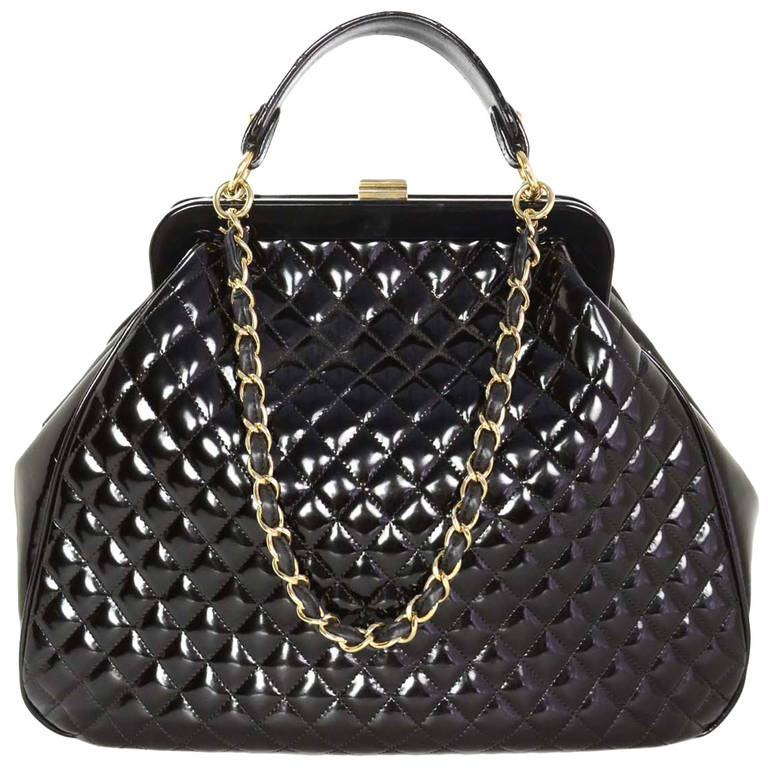 Chanel 2008 Black Quilted Polished Calf Leather Mademoiselle Frame ...