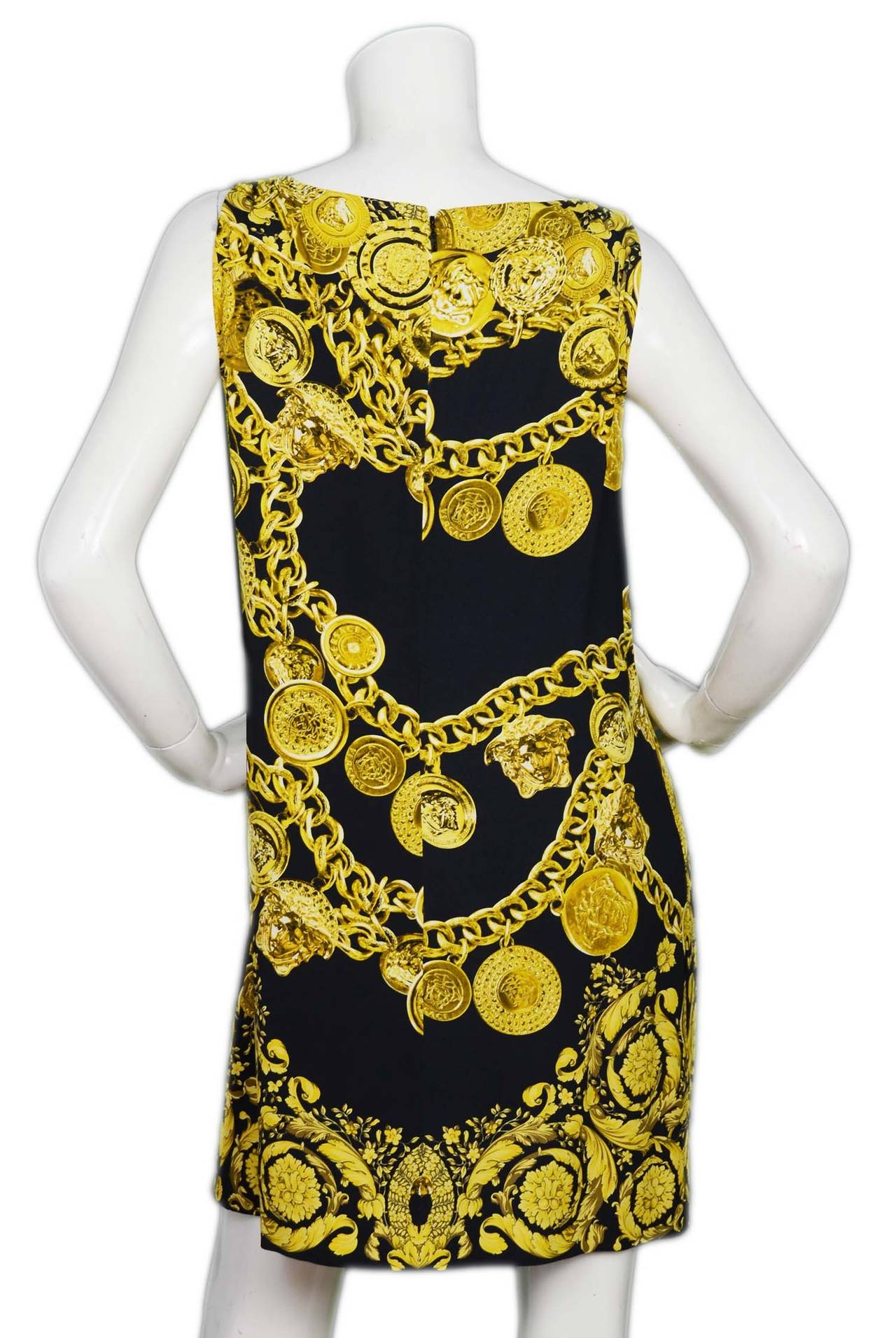 versace 2014 black and gold medusa medallion chain print