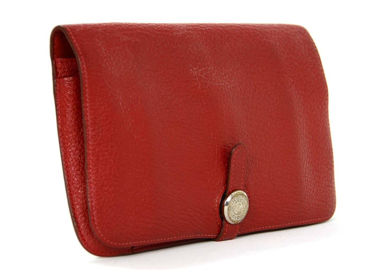 Hermes Red Chevre Leather Dogon Wallet PHW 2