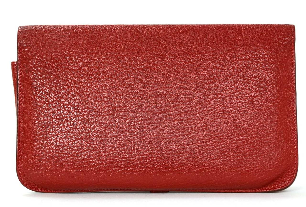 Hermes Red Chevre Leather Dogon Wallet PHW 3