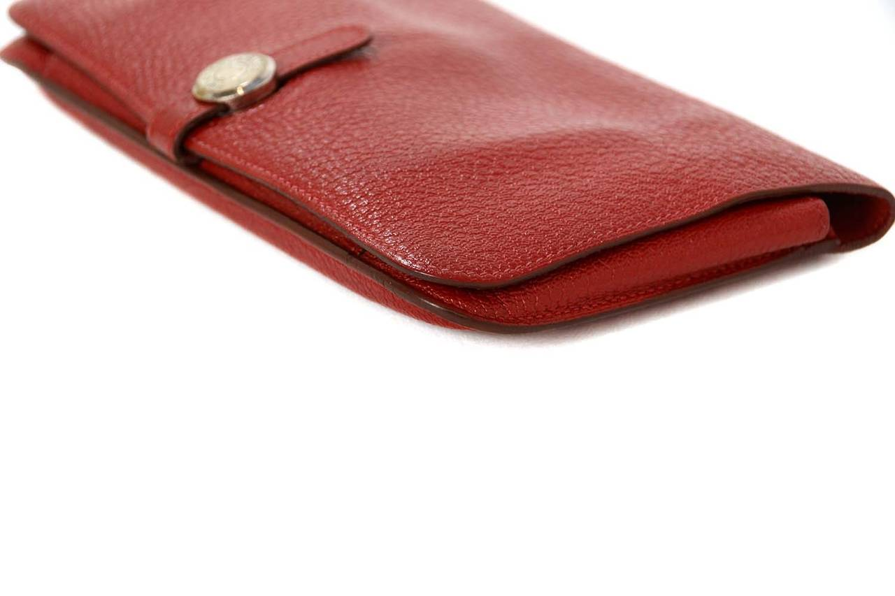Hermes Red Chevre Leather Dogon Wallet PHW 4
