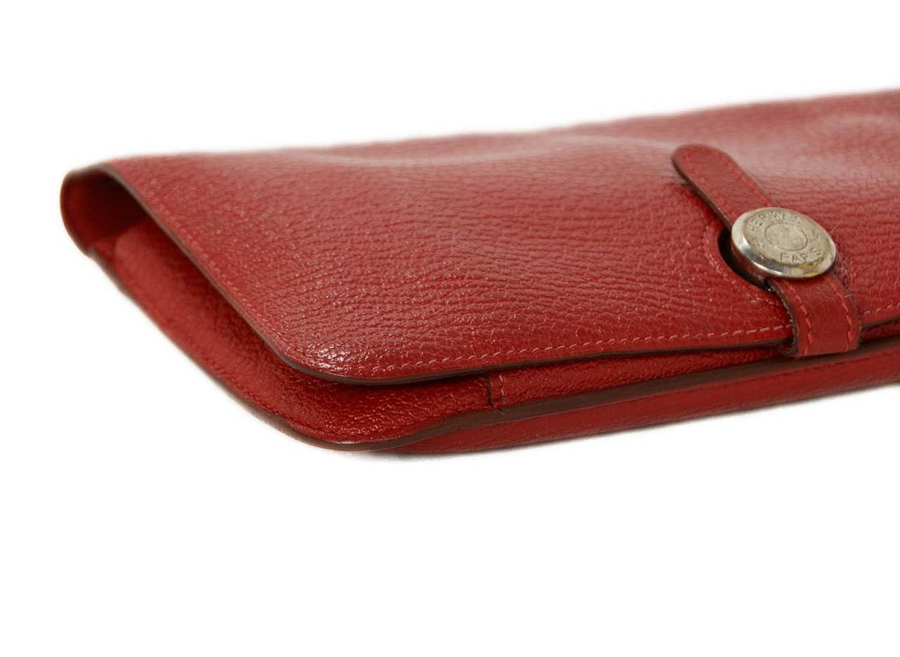 Hermes Red Chevre Leather Dogon Wallet PHW 5