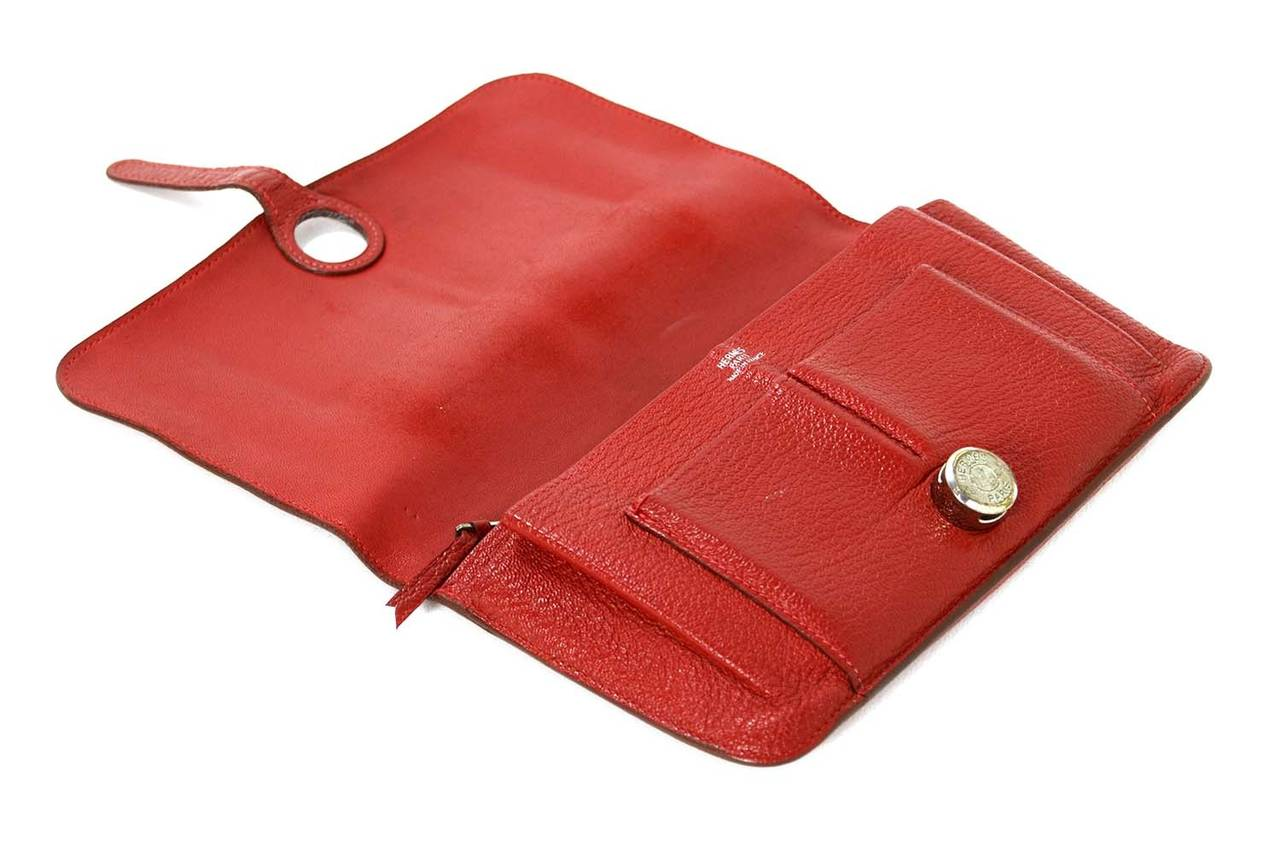 Hermes Red Chevre Leather Dogon Wallet PHW 6