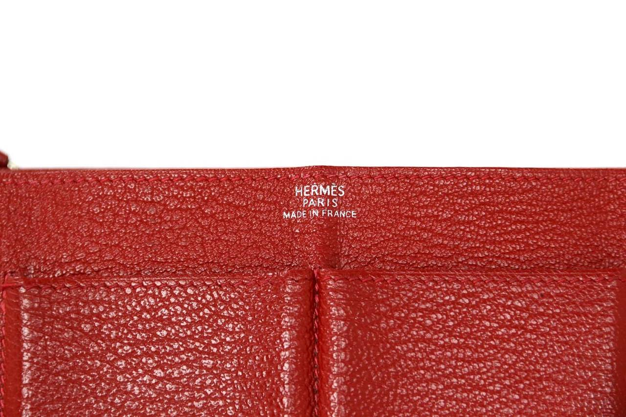 Hermes Red Chevre Leather Dogon Wallet PHW 7