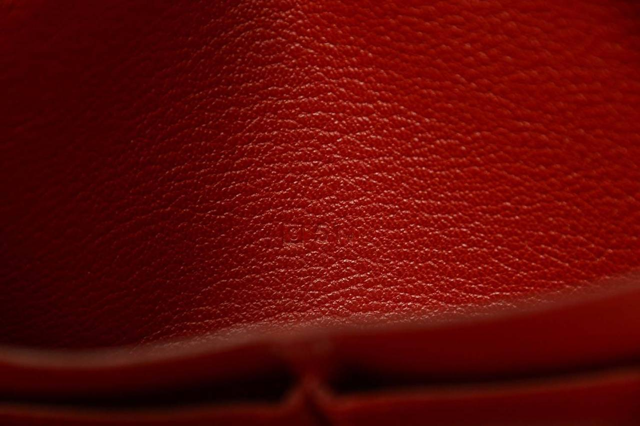 Hermes Red Chevre Leather Dogon Wallet PHW 8