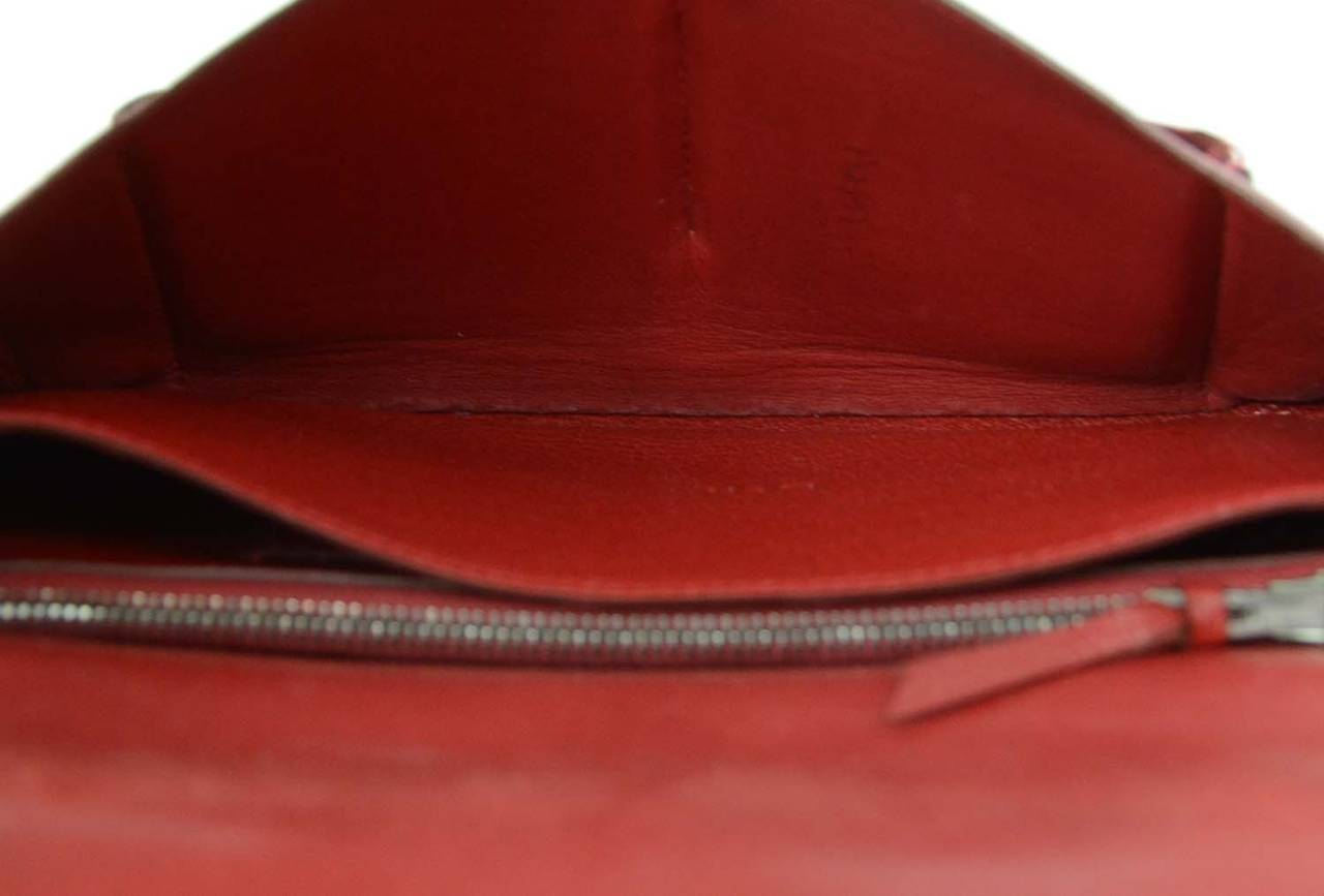 Hermes Red Chevre Leather Dogon Wallet PHW 9