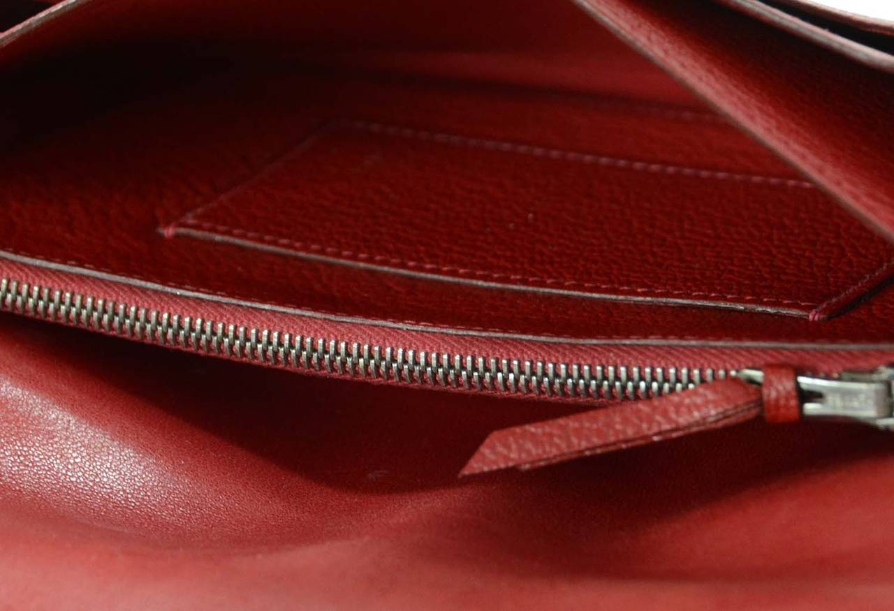 Hermes Red Chevre Leather Dogon Wallet PHW 10